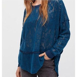 Free People Lace Knit Dolman Pullover Sweater